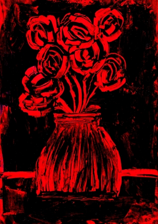 encaustic: Roses in red and black painting