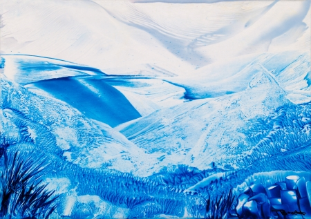 encaustic: Cold Mountains wax painting Stock Photo