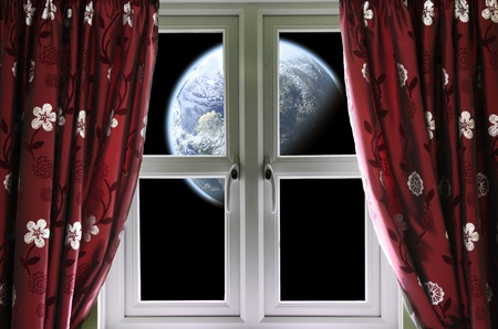 View of the Earth through a window with curtains Stock Photo - 27144568