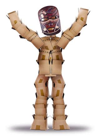 maschera tribale: Box uomo che si nasconde dietro una maschera tribale Archivio Fotografico