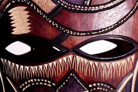 maschera tribale: Maschera tribale in legno close up