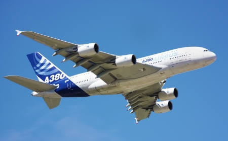 UK - JULY 26th - FARNBOROUGH AIR SHOW: AirBus  A380 passenger plane in flight. The double decker, wide body plane was first brought into service in 2007