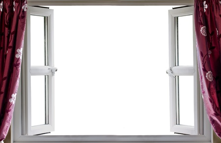 curtain window: Open window with a white background and curtains Stock Photo