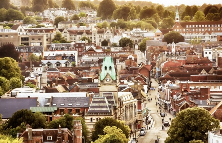 Winchester UK town view from high up