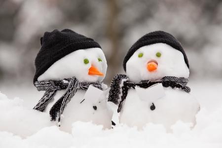 Dwa małe bałwanki w grupie Kolędowanie w śniegu Zdjęcie Seryjne