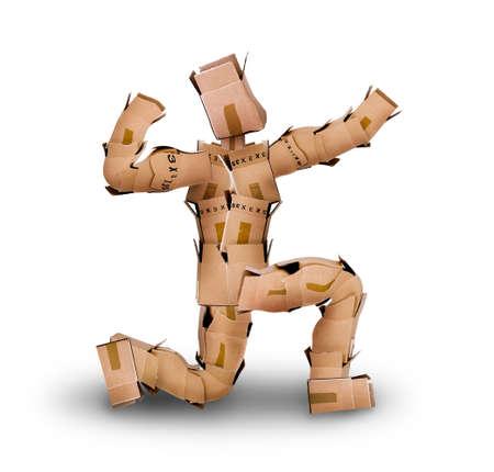 Powerful boxman posing while kneeling