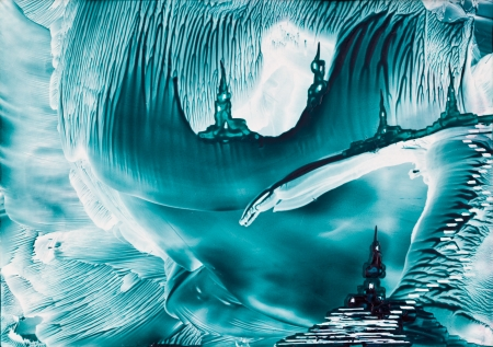 encaustic: Underground fantasy castles painting in wax