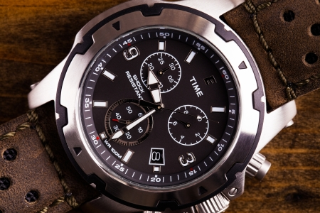 gents: Gents analogue watch close up with leather strap Stock Photo