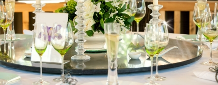 event planner: Wedding table display close up Stock Photo