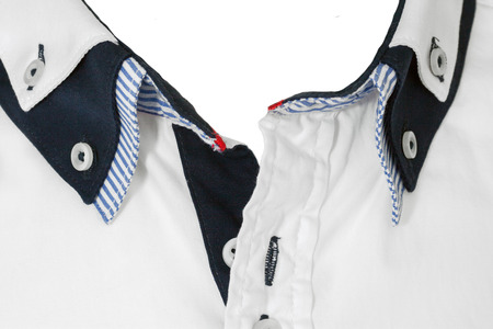 undone: White shirt with layered collar open neck close up Stock Photo