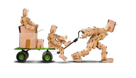 niños reciclando: Boxman tirando de un carro con una familia de boxkids y paquetería