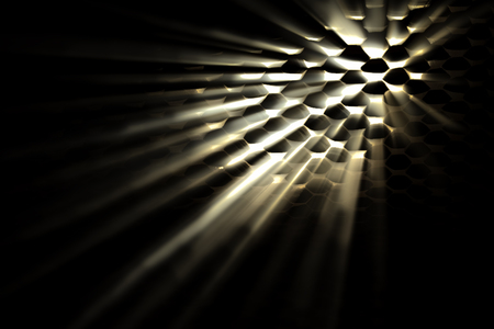 emanate: Light glinting though holes with light beams. Dark foreground