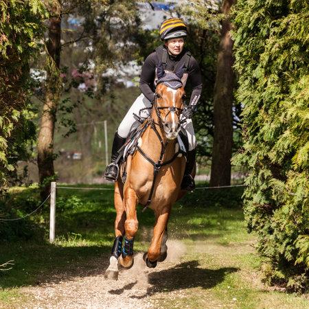 BURNHAM MARKET, NORFOLKENGLAND - APRIL 13th 2017: Burnham Market International Horse Trials 2017 cross country event