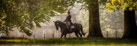 HOUGHTON, NORFOLKENGLAND - May 25th 2017: Houghton International Horse Trials 2017 with Chloe Lynn on Calzini. Including cross country, eventing, show jumping and dressage at the top level Editorial