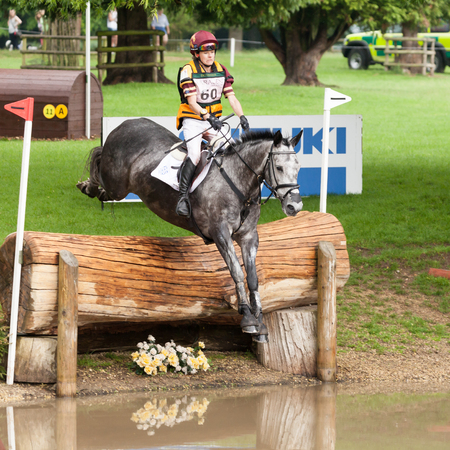 annie: HOUGHTON, NORFOLKENGLAND - May 27th 2017: Houghton International Horse Trials 2017 Annie Bellamy riding Grafik III. Including cross country, eventing, show jumping and dressage at the top level