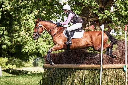 HOUGHTON, NORFOLK/ENGLAND - May 27th 2017: Houghton International Horse Trials 2017 Becky Woolven riding Dhi Babette K. Including cross country, eventing, show jumping and dressage at the top level