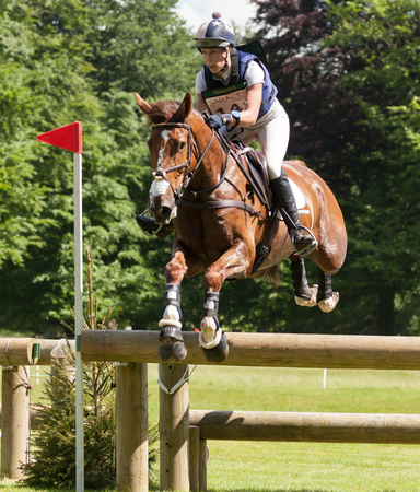 HOUGHTON, NORFOLKENGLAND - May 27th 2017: Houghton International Horse Trials 2017 Caroline March riding Barrichello. Including cross country, eventing, show jumping and dressage at the top level Editorial