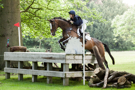 HOUGHTON, NORFOLKENGLAND - May 27th 2017: Houghton International Horse Trials 2017 Courtney romcke riding Destino Bello. Including cross country, eventing, show jumping and dressage at the top level