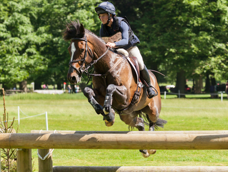 HOUGHTON, NORFOLKENGLAND - May 27th 2017: Houghton International Horse Trials 2017 Indiana Limpus riding Bronze Dandylion. Including cross country, eventing, show jumping and dressage at the top level