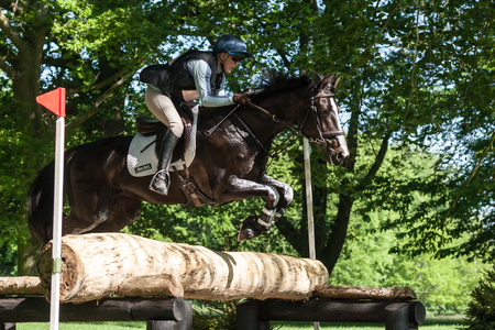 HOUGHTON, NORFOLKENGLAND - May 27th 2017: Houghton International Horse Trials 2017 Izzy Laurence riding Whitney B. Including cross country, eventing, show jumping and dressage at the top level