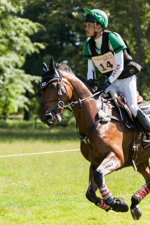 HOUGHTON, NORFOLKENGLAND - May 27th 2017: Houghton International Horse Trials 2017 Ryuzo Kitajima riding Feroza Nieuwmoed. Including cross country, eventing, show jumping and dressage at the top level