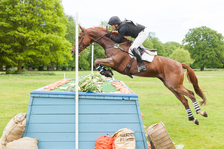 HOUGHTON, NORFOLKENGLAND - May 28th 2017: Houghton International Horse Trials 2017 Mark Ford riding Hildare Amun RA. Including cross country, eventing, show jumping and dressage at the top level Editorial