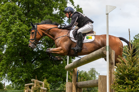 gelding: HOUGHTON, NORFOLKENGLAND - May 28th 2017: Houghton International Horse Trials 2017 Oliver Townend riding Cooley SRS. Including cross country, eventing, show jumping and dressage at the top level