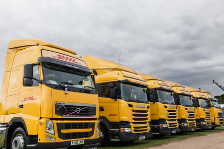 NORFOLK, UK - AUGUST 19th, 2017: Truckfest Norwich is a transport festival in the UK based around the haulage industry located in Norfolk. Including trade stands and shows like Monster Truck car crushing & stunt driving