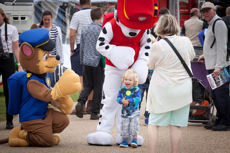 NORFOLK, UK - AUGUST 19th, 2017: Truckfest Norwich is a transport festival. Mascots Paw Patrol pleasing the young crowd