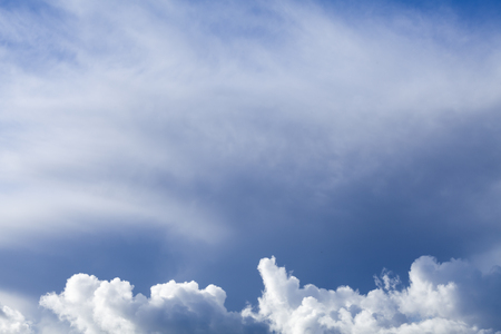 Freash air blue sky with white fluffy clouds