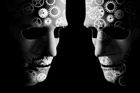 Artificial intelligence robot masks with cogs indicating mechanical brain power. Black background with space for text