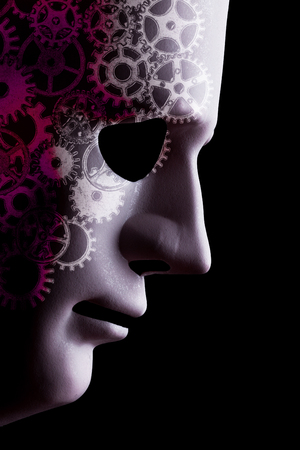 Artificial intelligence (A.I.) robotic face close up with cogs depicting intelligent computer science. Black background space for text Reklamní fotografie