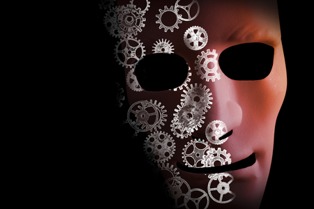 Artificial intelligence conceptual design with a face mask and cogs on a black background.