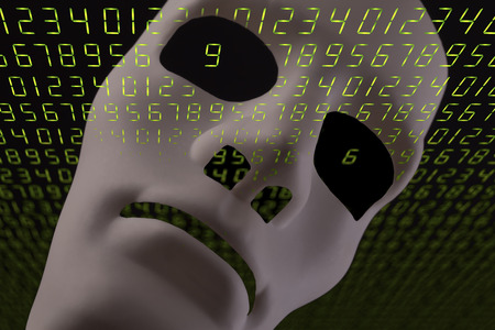 Artificial intelligence concept with robotic face mask and digital LED green numbers background.