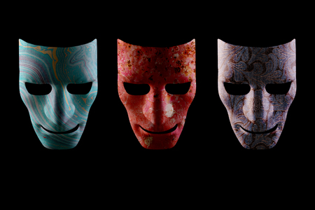 Three face masks with different textures on a black background. Artificial intelligence robotic faces.