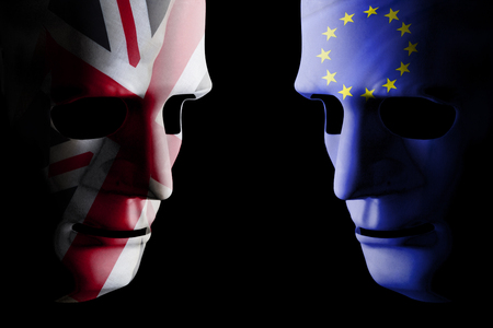 Brexit UK EU concept with face masks for each side and country flag texture on face. Black background.