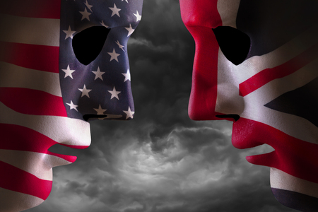 Head to head USA and UK faces with flag textures over the faces. Stormy clouds background.