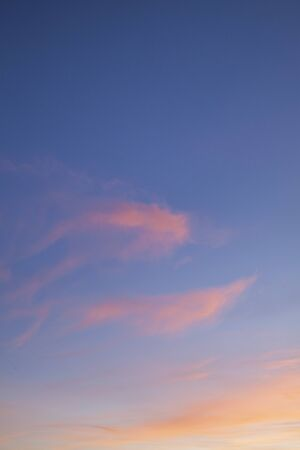 Pink sunset clouds and a blue sky background 免版税图像