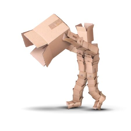 Thinking outside the box concept with a character made from boxes holding a large empty carton.
