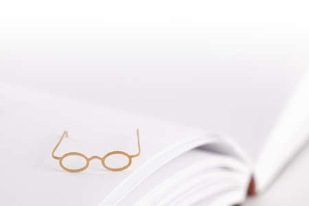 Tiny reading glasses on an open book with blank pages. White background with text space. No words