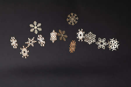 Snowflake Christmas symbols on a black background