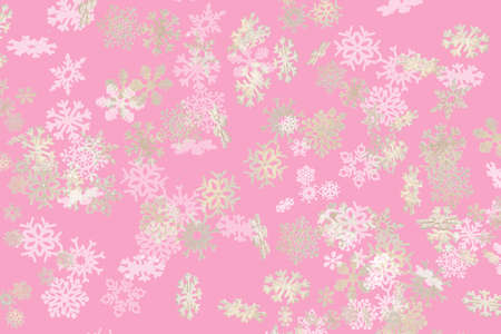Beautiful snowflake pattern white and gold falling on a subtle pastel purple background 免版税图像