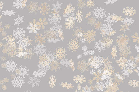Beautiful Christmas snowflake pattern white and gold falling on a subtle pastel grey background