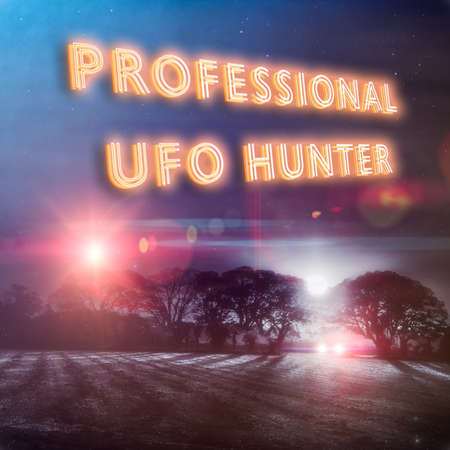 """""""Professional UFO Hunter"""" slogan with UFO lights and red approach beams and a car with headlights looking for aliens in a dark winters night field. Part of a series of fun UFO designs by Simon Bratt Photography. Nobody was reported abducted in the making of this scene. Social distancing was observed."""