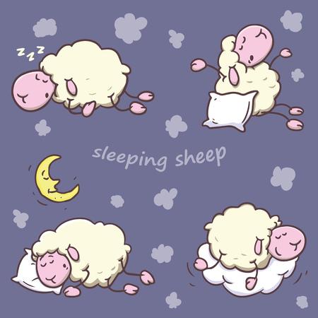 sheeps: Sleeping sheeps set