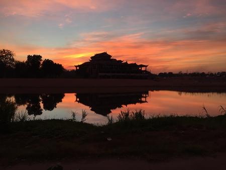 Ping river evening sky. Kamphaengphet, Thailand Stock Photo