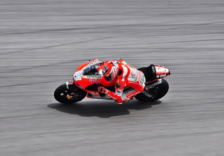 hayden: SEPANG, MALAYSIA - FEBRUARY 3: Nicky Hayden from Ducati Team during Moto GP Pre-Season Test Day 3 on February 3, 2011 at Sepang International Circuit, Malaysia  Editorial