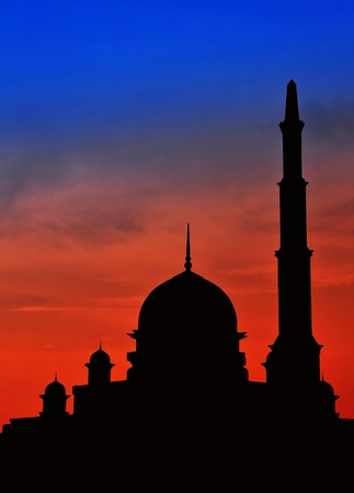 islamic scenery: Beautiful scenery of  blue and red sky at mosque