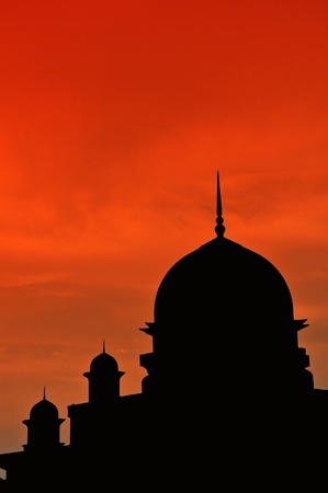 islamic scenery: Beautiful silhouette mosque during sunset