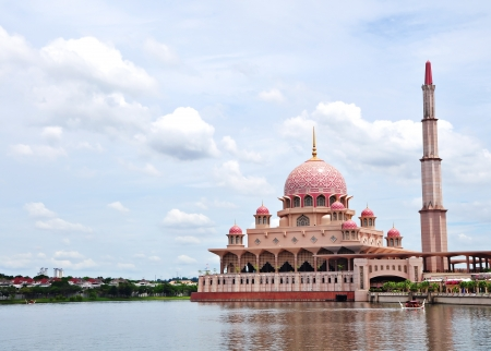 Putra Mosque, Putrajaya. Beautiful mosque that float on the lake. Editorial